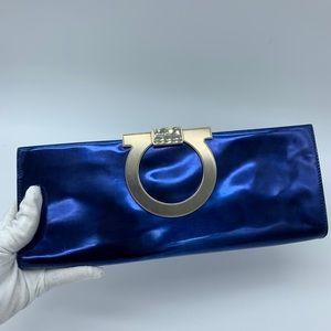 Salvatore Ferragamo Blue metallic clutch